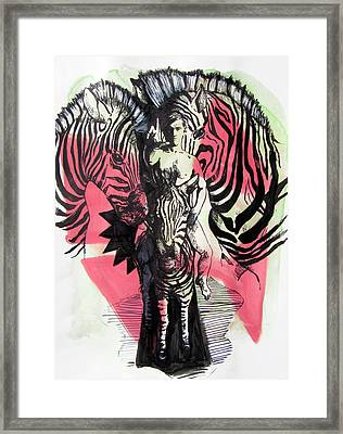 Return Of Zebra Boy Framed Print by Rene Capone