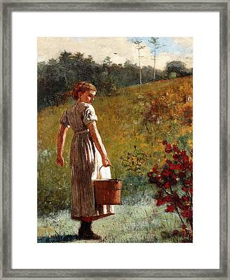 Returning From The Spring Framed Print by Winslow Homer