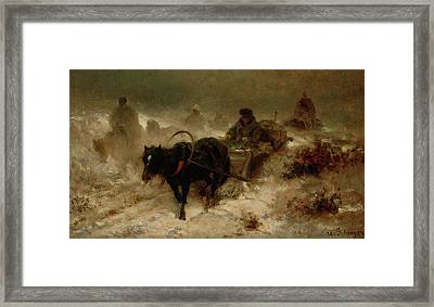 Returning Home Framed Print by Adolf Schreyer