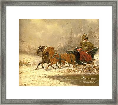 Returning Home In Winter Framed Print