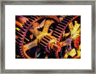 Reusting Gears In Train Yard Framed Print by Garry Gay