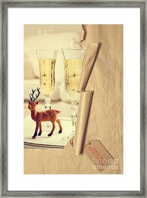 Revealing Christmas Champagne Framed Print by Amanda Elwell