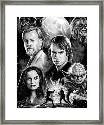 Revenge Of The Sith Bw Framed Print