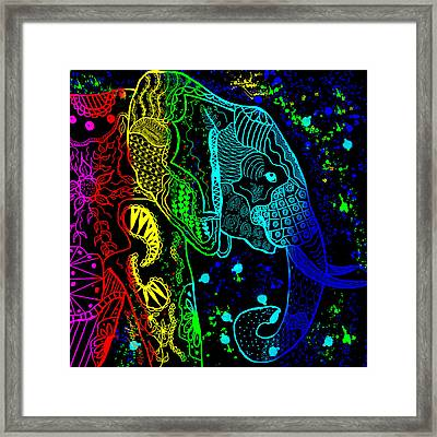 Rainbow Zentangle Elephant With Black Background Framed Print