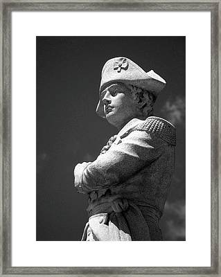 Revolutionary War Soldier In Bw Framed Print by Susan Lafleur