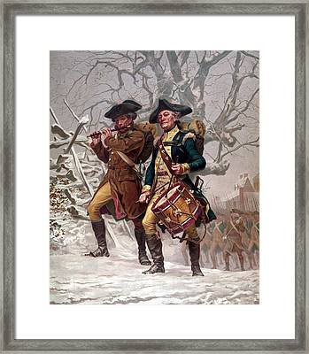 Revolutionary War Soldiers Marching Framed Print