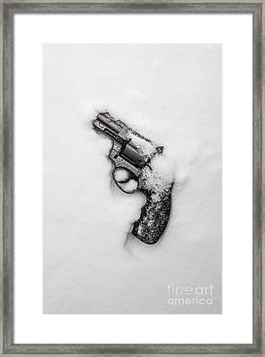 Revolver In The Snow Framed Print by Edward Fielding