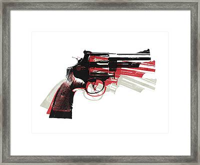 Revolver On White - Right Facing Framed Print