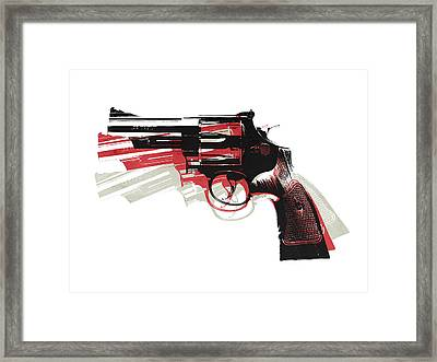 Revolver On White Framed Print