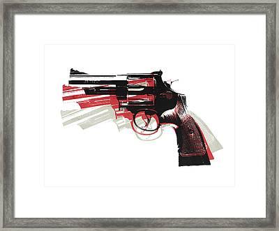 Revolver On White Framed Print by Michael Tompsett