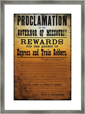Reward For Frank And Jesse James Framed Print by Bill Cannon