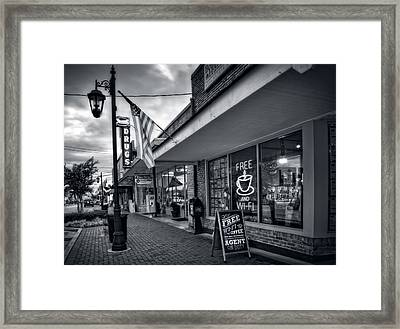 Rexall Sidewalk In Black And White Framed Print