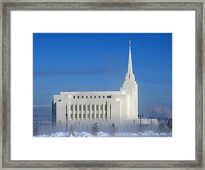 Rexburg Temple Rises Above The Mist Framed Print
