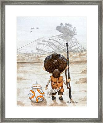 Rey With Bb8 Framed Print by Al  Molina