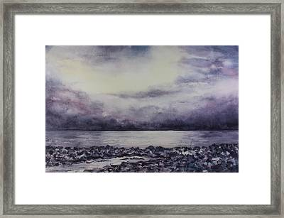 Framed Print featuring the painting Reykjavik Shore by Kim Fournier