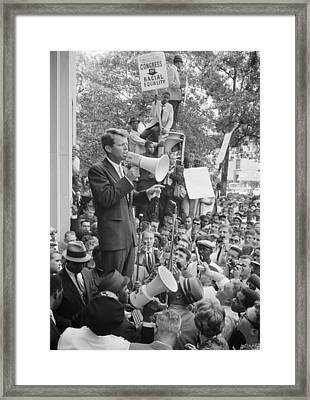 Rfk Speaking At Core Rally Framed Print