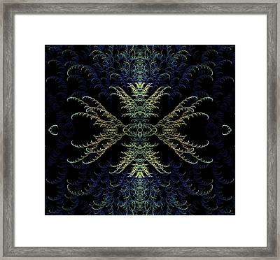 Rhapsody In Blue And Gold Framed Print by Lea Wiggins