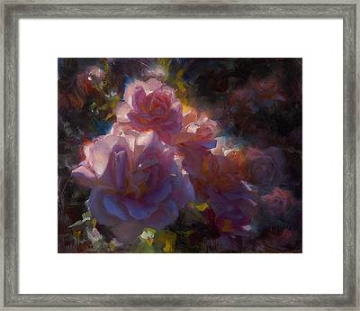 Framed Print featuring the painting Rhapsody Roses - Flowers In The Garden Painting by Karen Whitworth