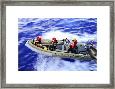 Rhib Boat Operation  Us Navy Framed Print by Celestial Images