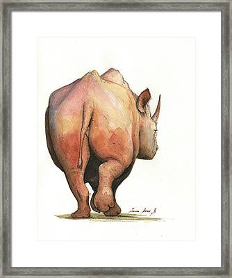 Rhino Back Framed Print by Juan Bosco