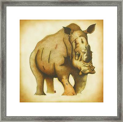 Rhino Framed Print by Erik Loiselle