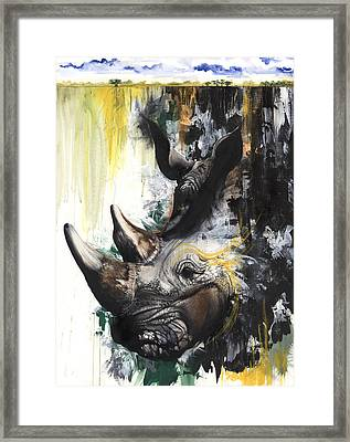Rhino II Framed Print by Anthony Burks Sr