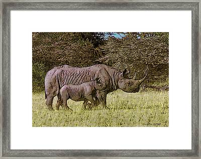 Rhino Mother And Calf Framed Print