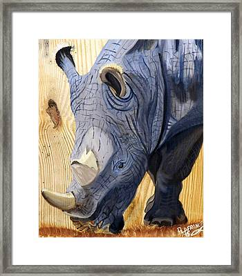 Rhino On Wood Framed Print by Debbie LaFrance