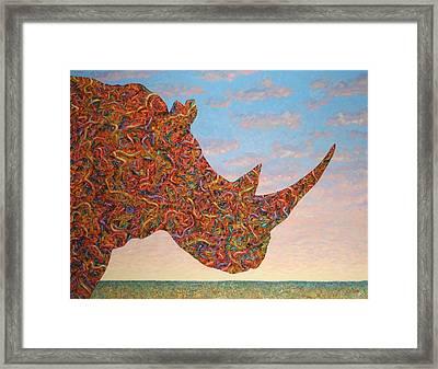 Rhino-shape Framed Print by James W Johnson