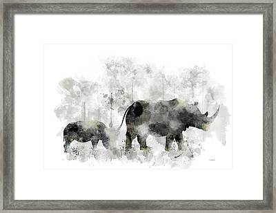 Rhinoceros And Baby Framed Print