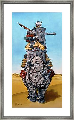 Framed Print featuring the painting Rhinoceros Riders by Paxton Mobley