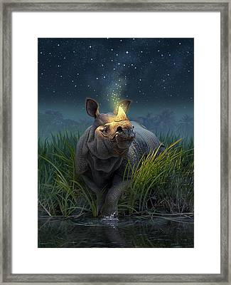 Rhinoceros Unicornis Framed Print by Jerry LoFaro