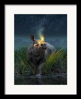 Rhinoceros Paintings Framed Prints