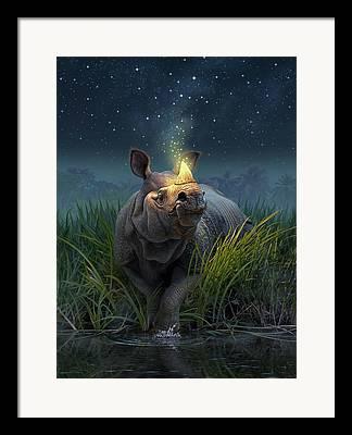 Rhinoceros Framed Prints