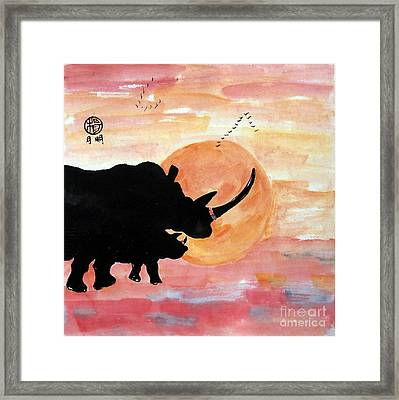 Rhinos At The Ol Pejeta Conservancy Framed Print by Ming Yeung
