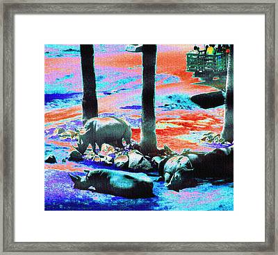 Rhinos Having A Picnic Framed Print by Abstract Angel Artist Stephen K