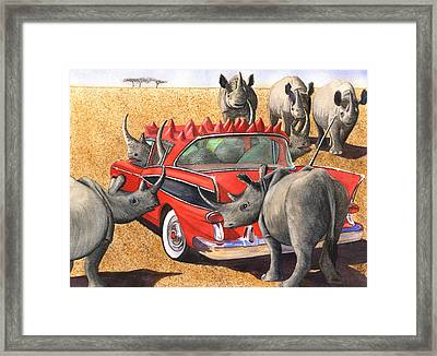 Rhinos Red Rambler Framed Print by Catherine G McElroy