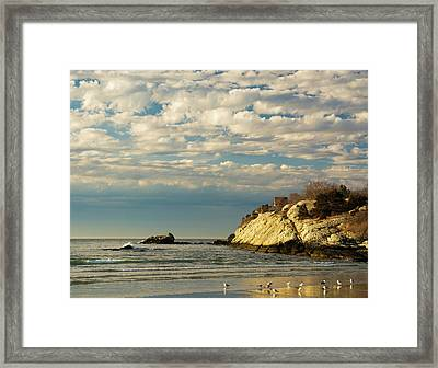 Rhode Island Beach In Winter Framed Print by Nancy De Flon