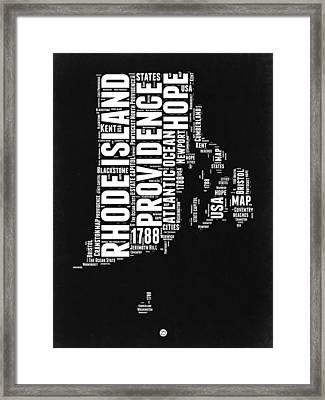 Rhode Island Black And White Map Framed Print