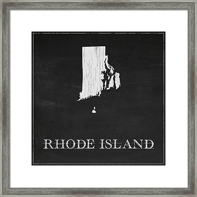 Rhode Island Map Framed Print by Finlay McNevin