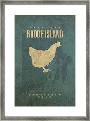 Rhode Island State Facts Minimalist Movie Poster Art Framed Print by Design Turnpike