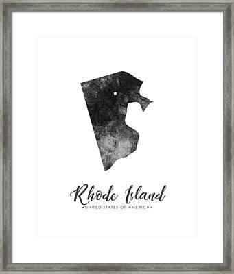 Rhode Island State Map Art - Grunge Silhouette Framed Print