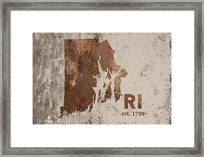 Rhode Island State Map Industrial Rusted Metal On Cement Wall With Founding Date Series 013 Framed Print by Design Turnpike