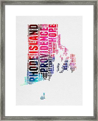 Rhode Island Watercolor Word Cloud Framed Print