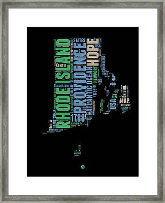 Rhode Island Word Cloud 2 Framed Print