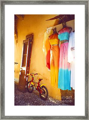 Rhodes Bicycle Framed Print by Andrea Simon