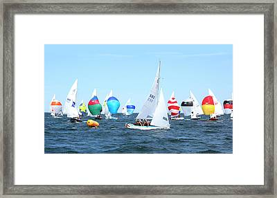 Framed Print featuring the photograph Rhodes Nationals Sailing Race Dennis Cape Cod by Charles Harden