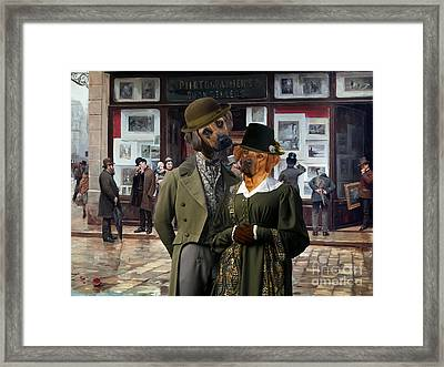 Rhodesian Ridgeback Art Canvas Print - - Public Exhibition Of Paintings Framed Print by Sandra Sij