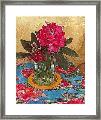 Framed Print featuring the digital art Rhododendron by Alexis Rotella