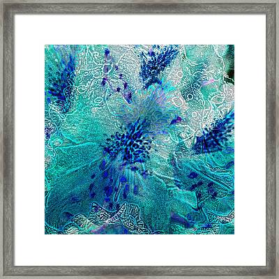Rhododendron Turquoise Lace Framed Print